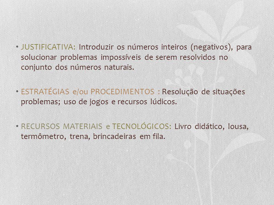 JUSTIFICATIVA: Introduzir os números inteiros (negativos), para solucionar problemas impossíveis de serem resolvidos no conjunto dos números naturais.