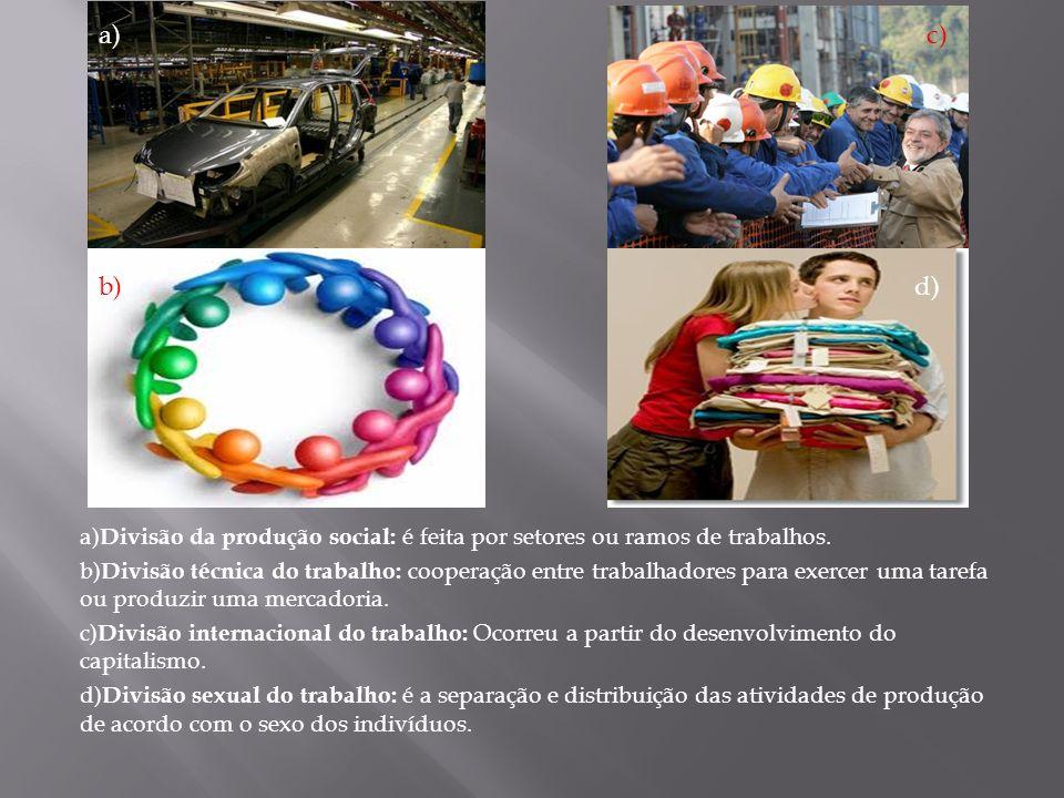 a) c) b) d) a)Divisão da produção social: é feita por setores ou ramos de trabalhos.