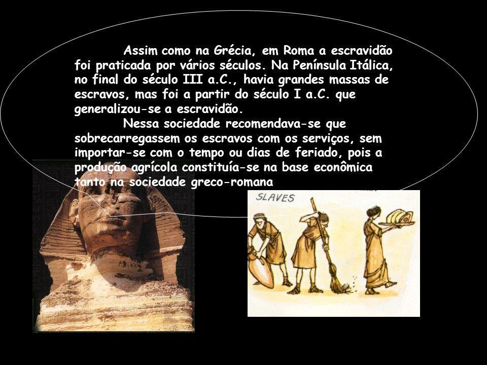 Assim como na Grécia, em Roma a escravidão foi praticada por vários séculos. Na Península Itálica, no final do século III a.C., havia grandes massas de escravos, mas foi a partir do século I a.C. que generalizou-se a escravidão.
