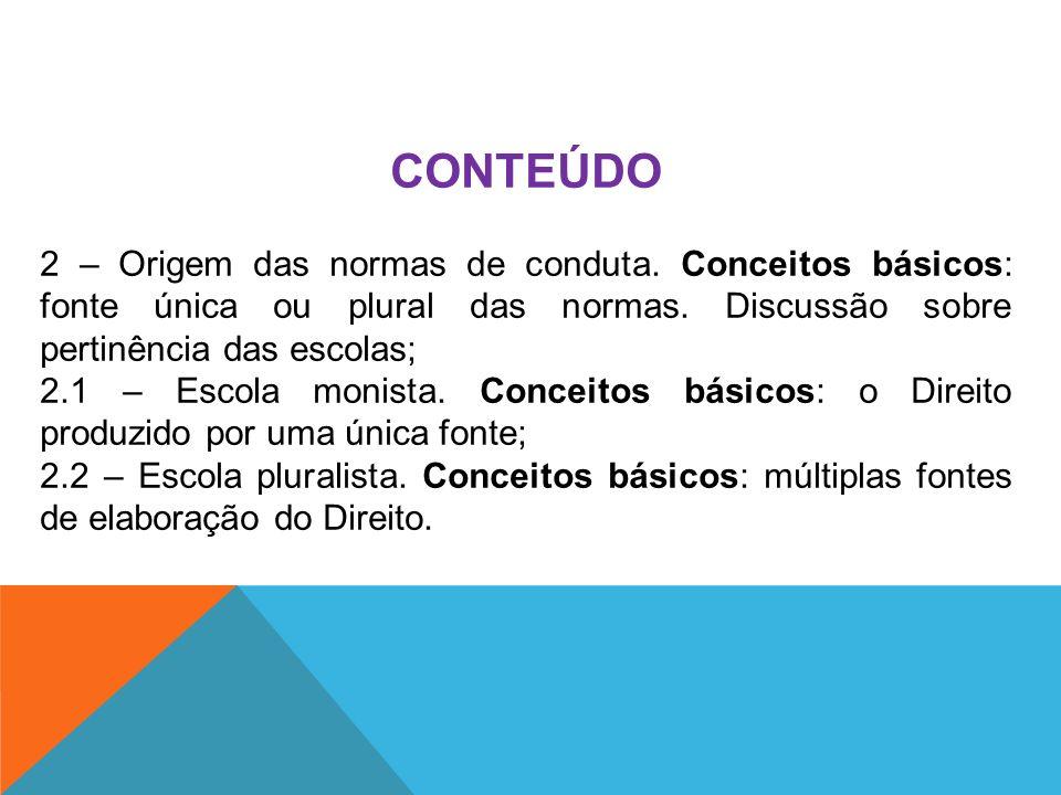 CONTEÚDO 2 – Origem das normas de conduta. Conceitos básicos: fonte única ou plural das normas. Discussão sobre pertinência das escolas;