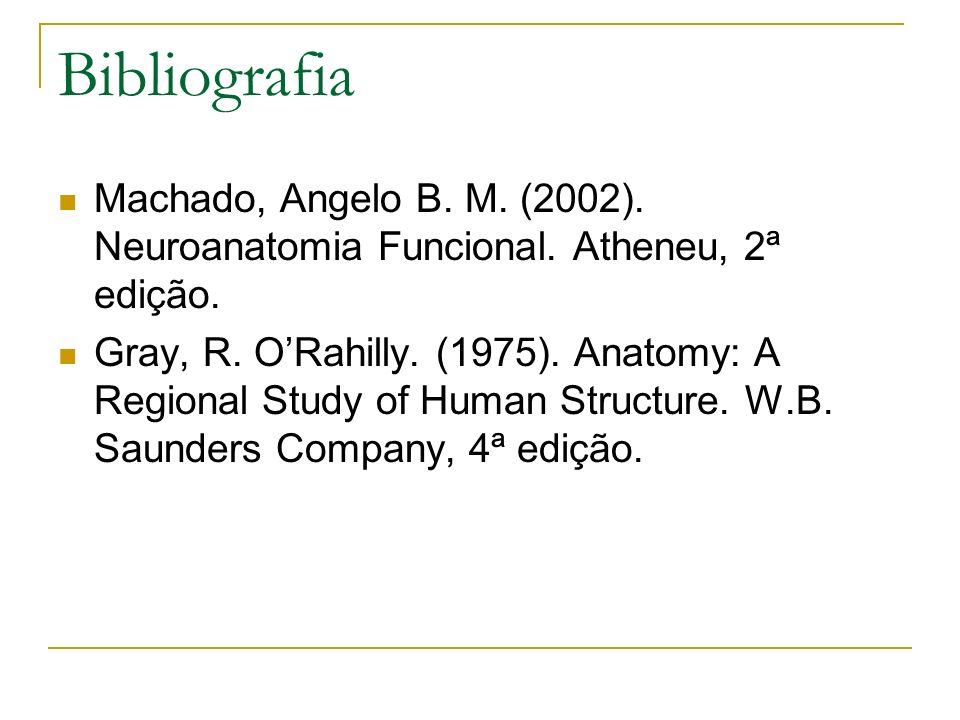 Bibliografia Machado, Angelo B. M. (2002). Neuroanatomia Funcional. Atheneu, 2ª edição.