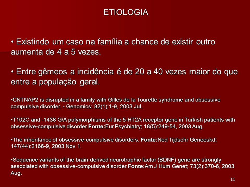ETIOLOGIA Existindo um caso na família a chance de existir outro aumenta de 4 a 5 vezes.