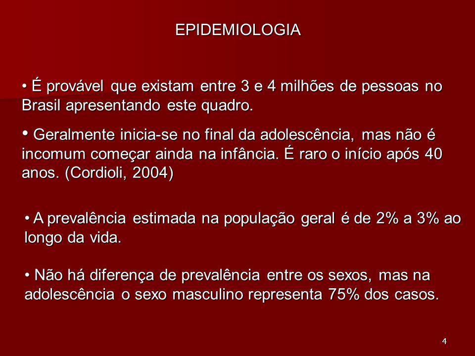 EPIDEMIOLOGIA É provável que existam entre 3 e 4 milhões de pessoas no Brasil apresentando este quadro.