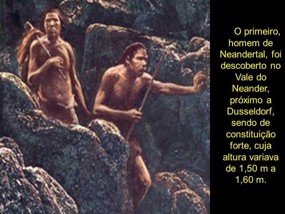 O primeiro, homem de Neandertal, foi descoberto no Vale do Neander, próximo a Dusseldorf, sendo de constituição forte, cuja altura variava de 1,50 m a 1,60 m.