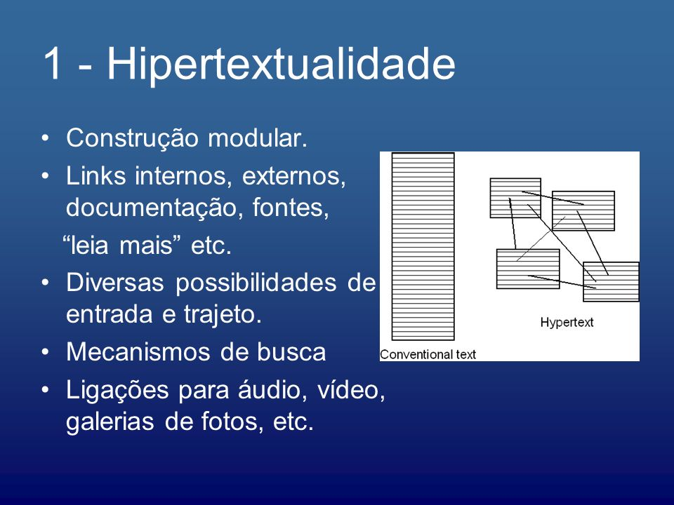 1 - Hipertextualidade Construção modular.