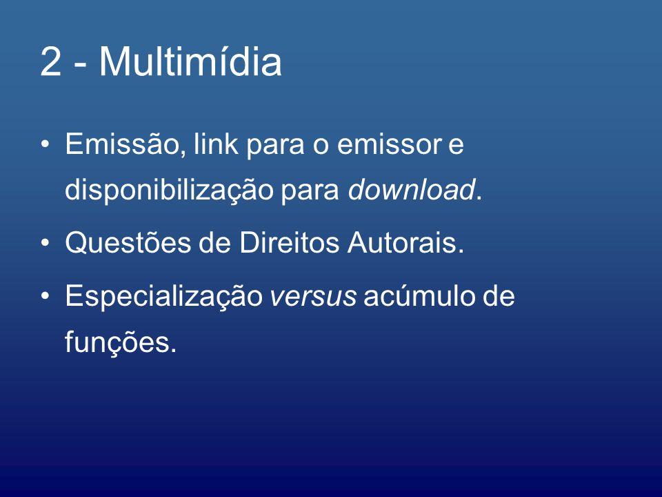 2 - MultimídiaEmissão, link para o emissor e disponibilização para download. Questões de Direitos Autorais.