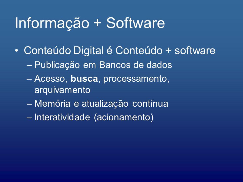 Informação + Software Conteúdo Digital é Conteúdo + software