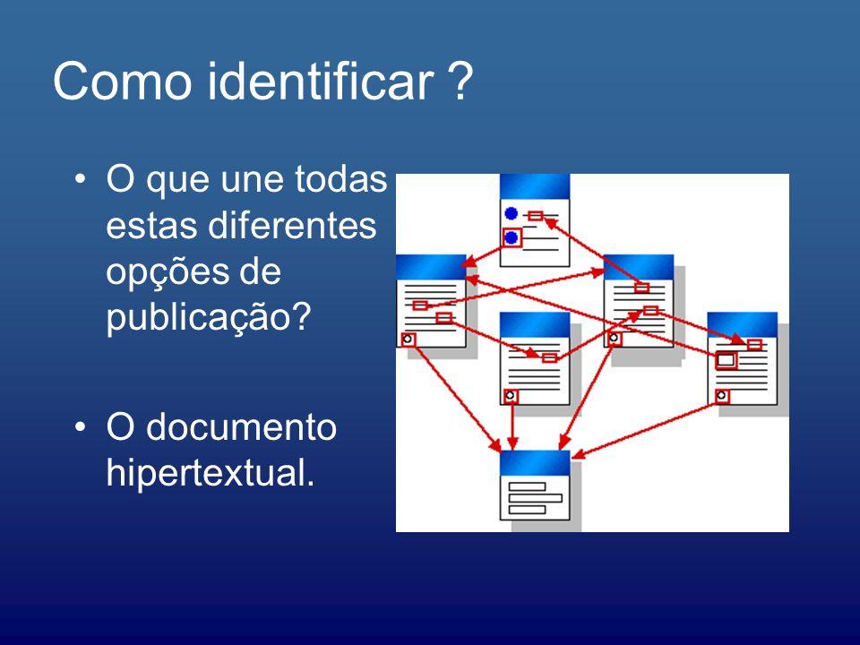 Como identificar O que une todas estas diferentes opções de publicação O documento hipertextual.