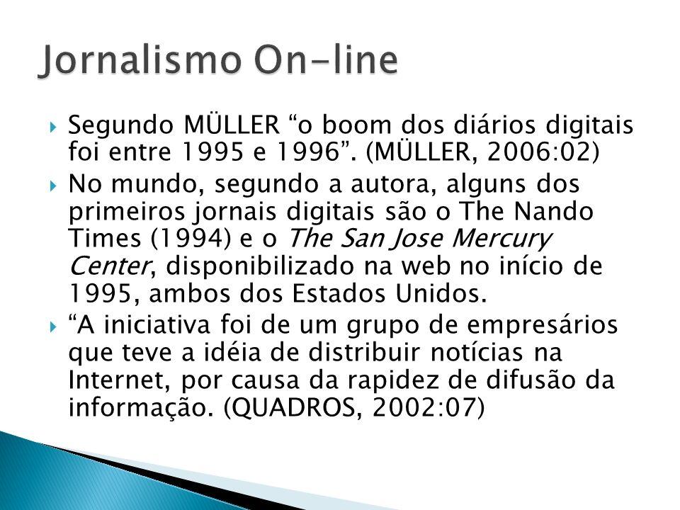 Jornalismo On-line Segundo MÜLLER o boom dos diários digitais foi entre 1995 e 1996 . (MÜLLER, 2006:02)