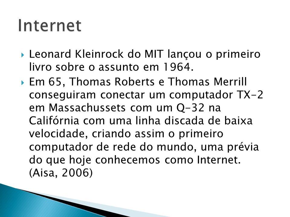 InternetLeonard Kleinrock do MIT lançou o primeiro livro sobre o assunto em 1964.