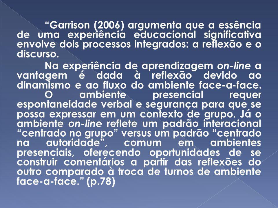 Garrison (2006) argumenta que a essência de uma experiência educacional significativa envolve dois processos integrados: a reflexão e o discurso.