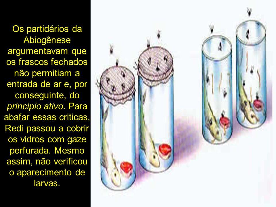 Os partidários da Abiogênese argumentavam que os frascos fechados não permitiam a entrada de ar e, por conseguinte, do principio ativo.