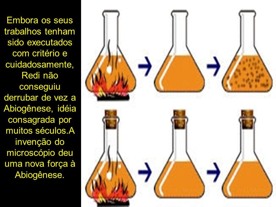 Embora os seus trabalhos tenham sido executados com critério e cuidadosamente, Redi não conseguiu derrubar de vez a Abiogênese, idéia consagrada por muitos séculos.A invenção do microscópio deu uma nova força à Abiogênese.