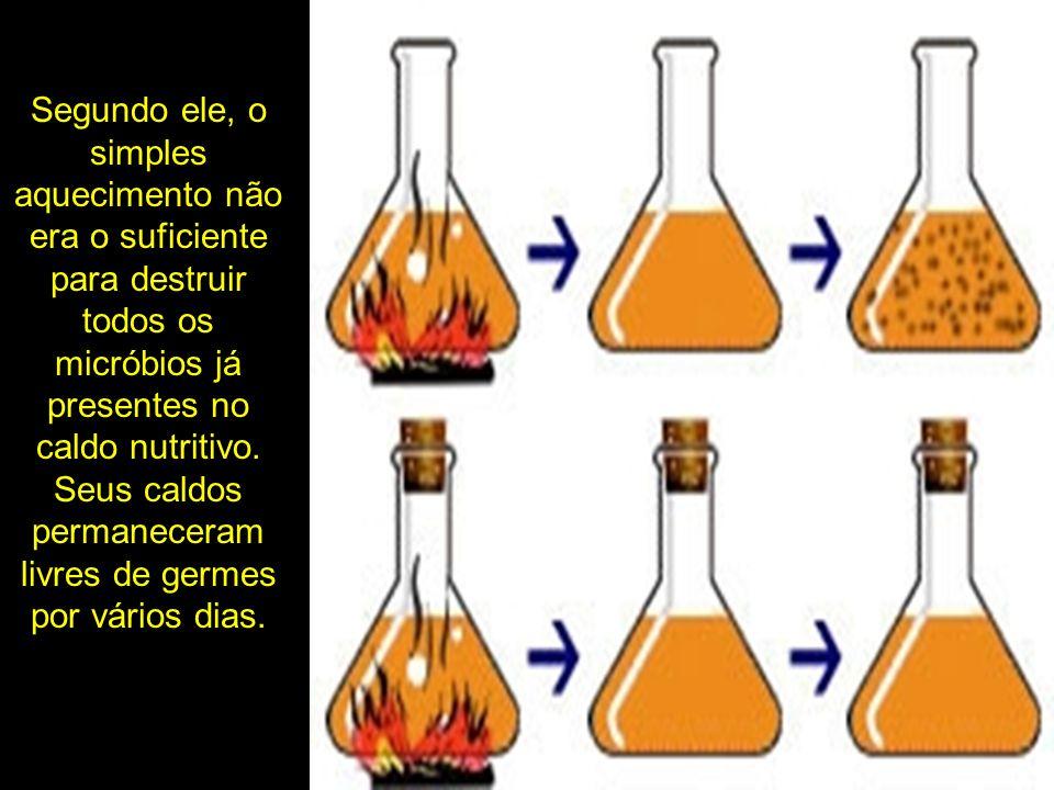 Segundo ele, o simples aquecimento não era o suficiente para destruir todos os micróbios já presentes no caldo nutritivo.