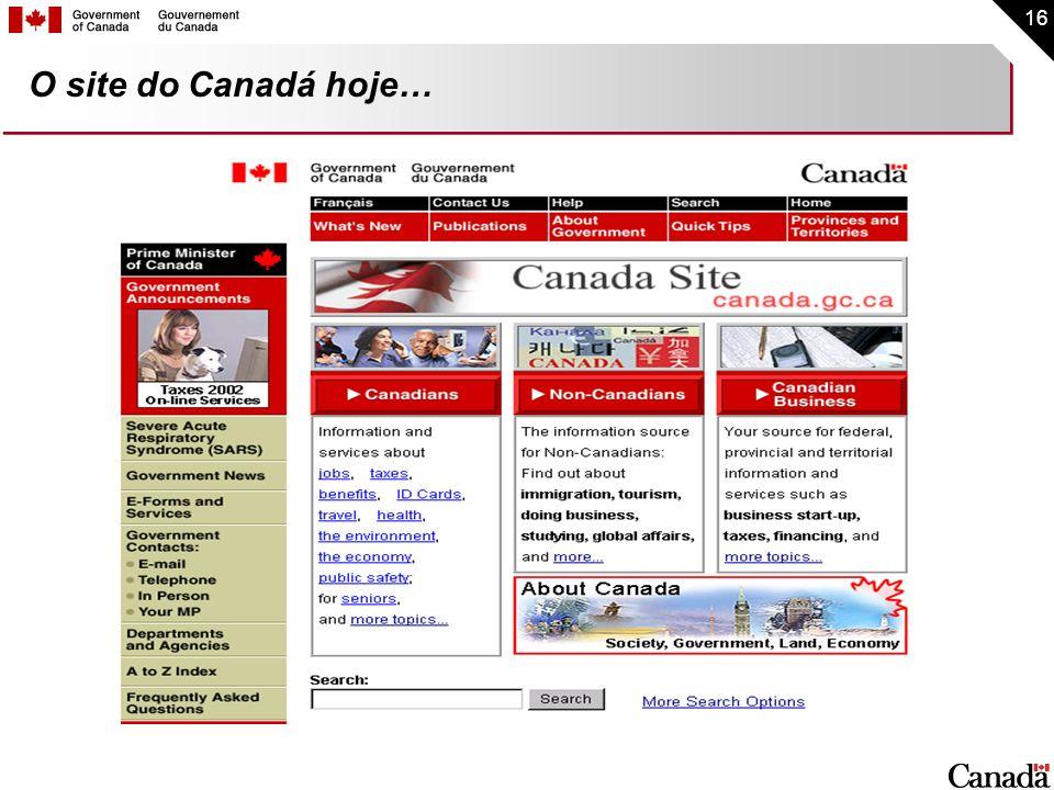 O site do Canadá hoje…