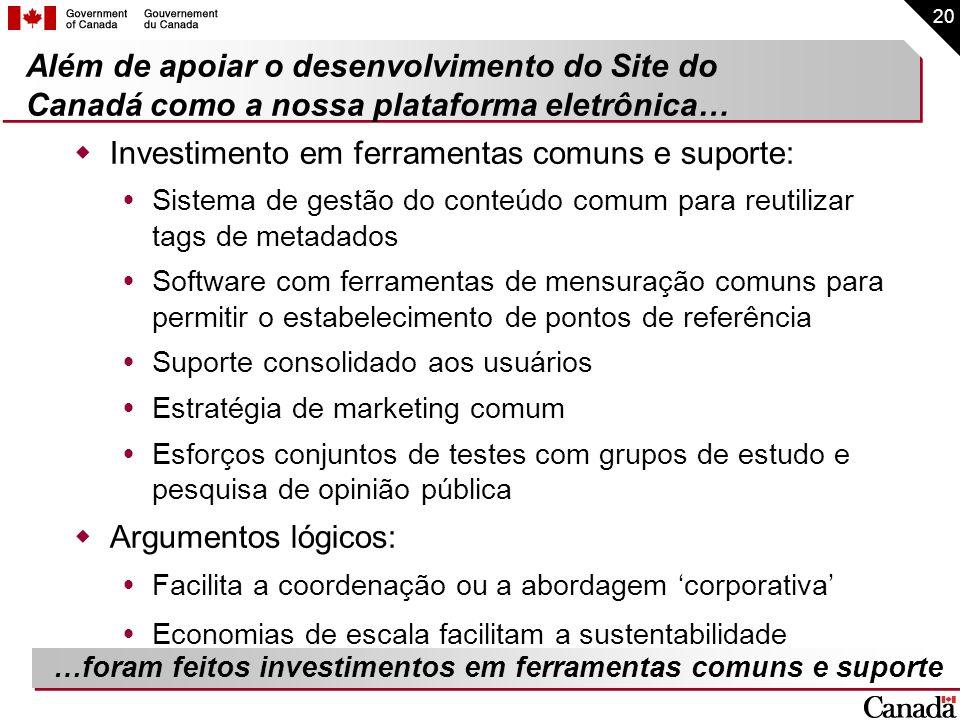 Investimento em ferramentas comuns e suporte: