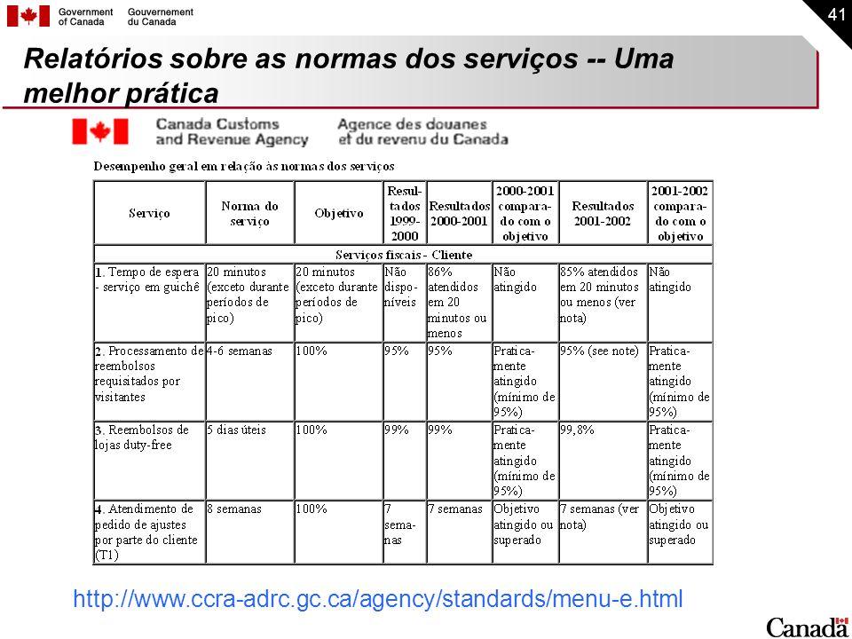 Relatórios sobre as normas dos serviços -- Uma melhor prática