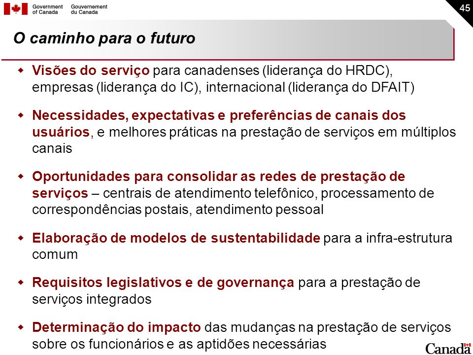 O caminho para o futuroVisões do serviço para canadenses (liderança do HRDC), empresas (liderança do IC), internacional (liderança do DFAIT)