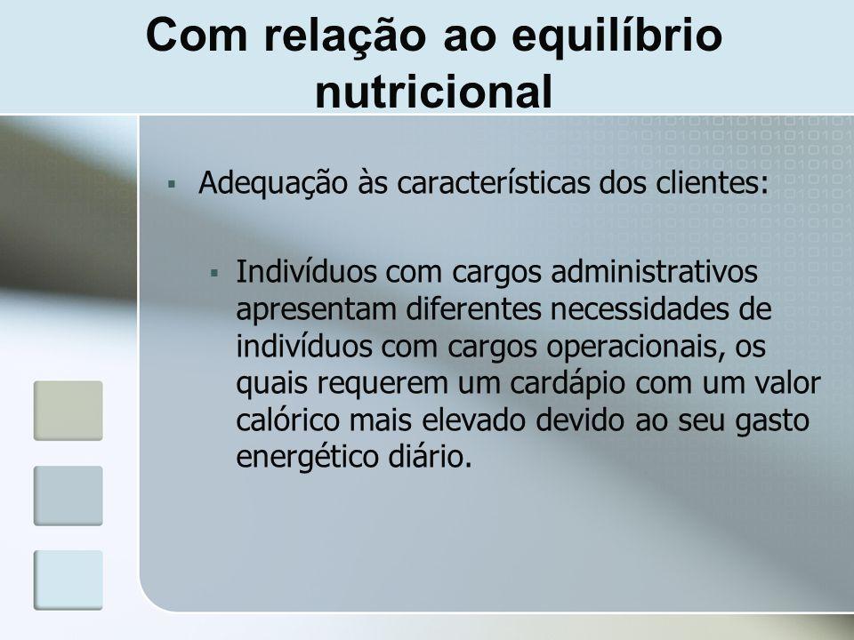 Com relação ao equilíbrio nutricional