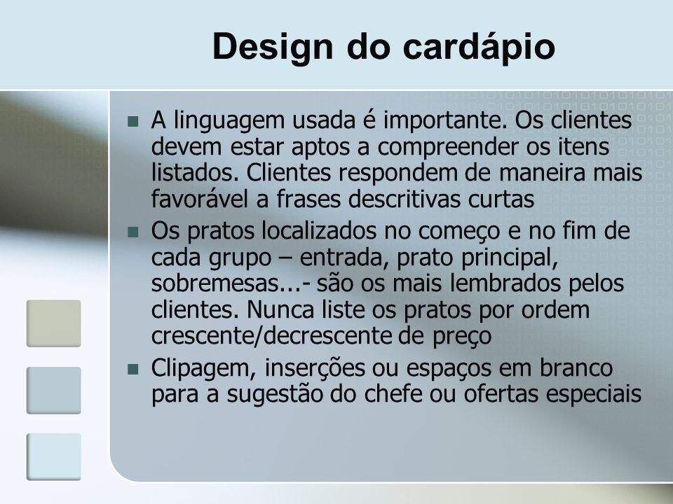Design do cardápio
