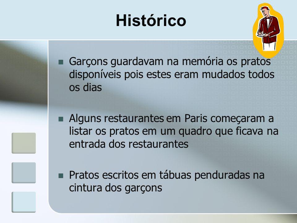 Histórico Garçons guardavam na memória os pratos disponíveis pois estes eram mudados todos os dias.