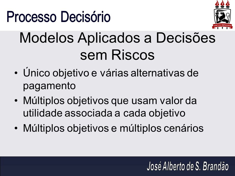 Modelos Aplicados a Decisões sem Riscos