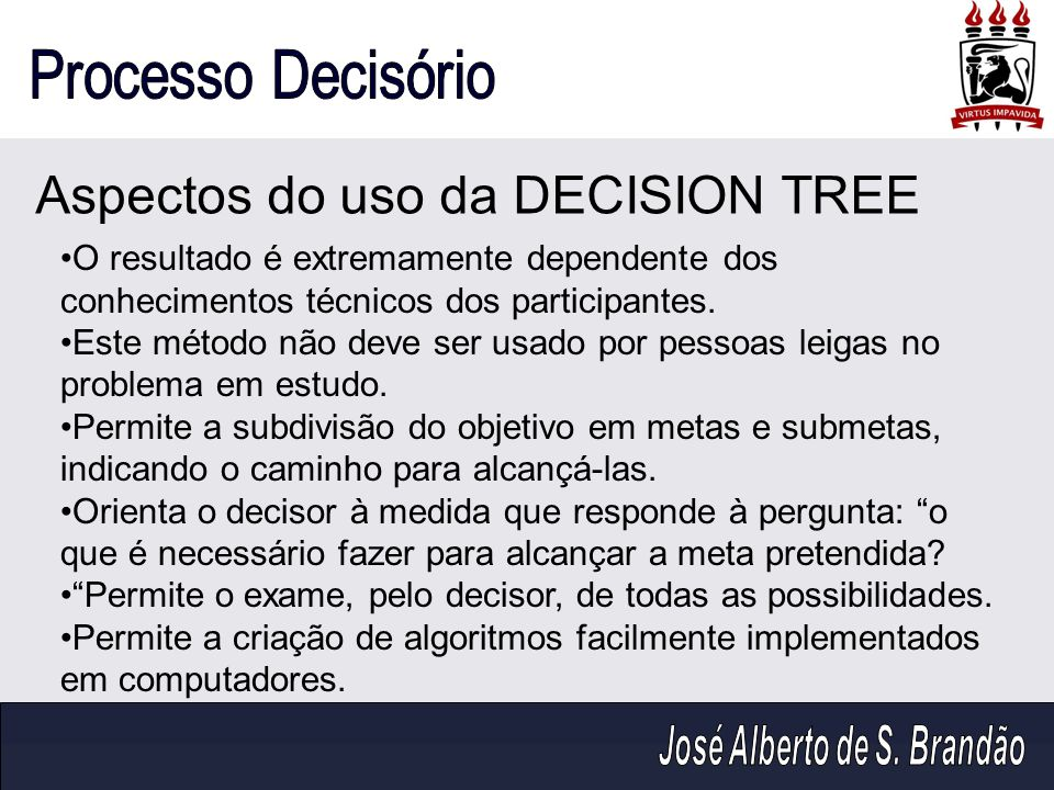 Aspectos do uso da DECISION TREE