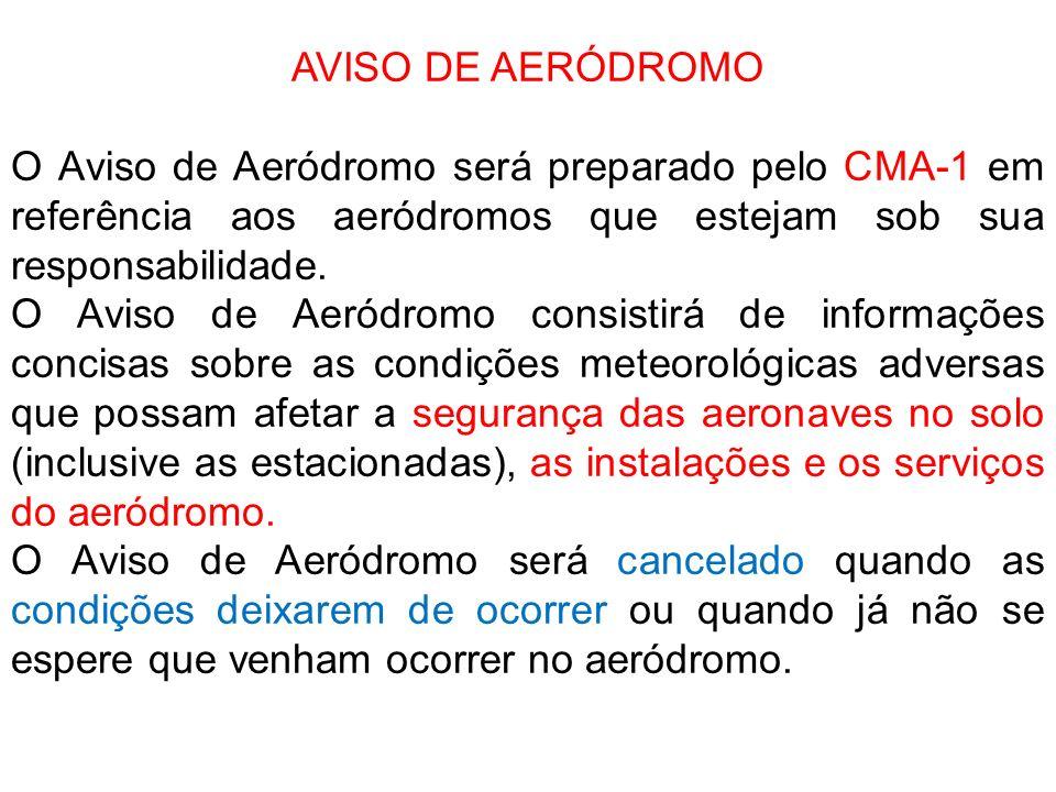 AVISO DE AERÓDROMOO Aviso de Aeródromo será preparado pelo CMA-1 em referência aos aeródromos que estejam sob sua responsabilidade.