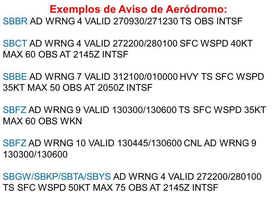 Exemplos de Aviso de Aeródromo: