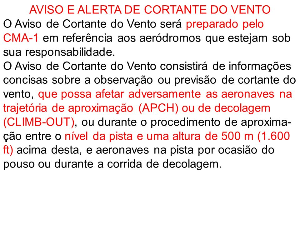 AVISO E ALERTA DE CORTANTE DO VENTO