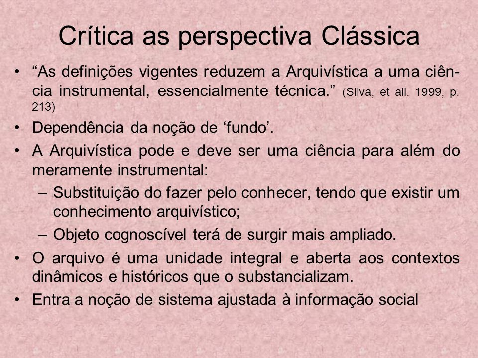 Crítica as perspectiva Clássica