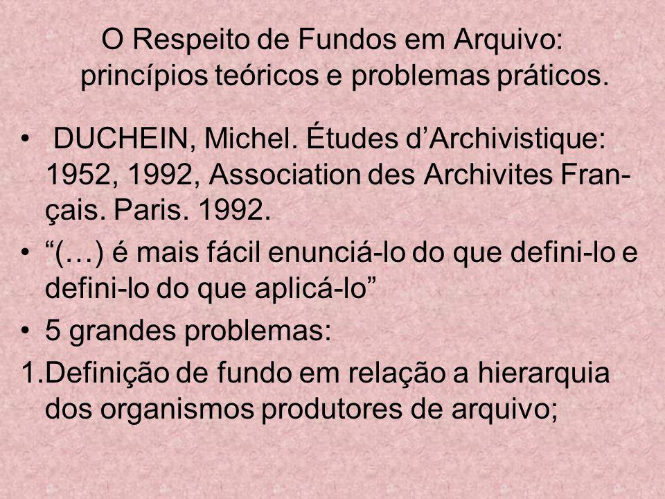 O Respeito de Fundos em Arquivo: princípios teóricos e problemas práticos.