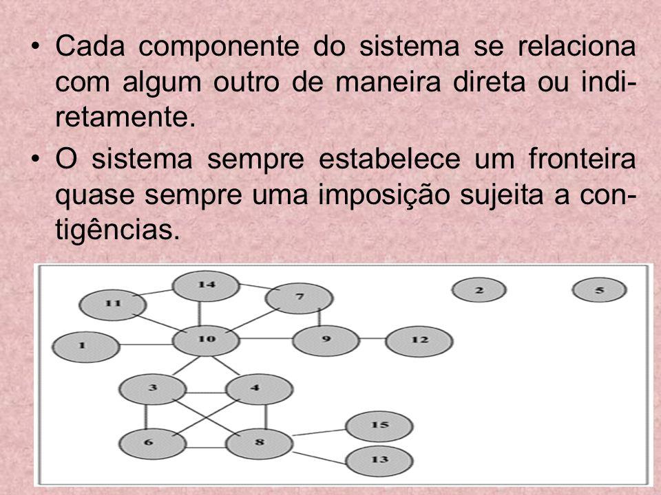 Cada componente do sistema se relaciona com algum outro de maneira direta ou indi-retamente.