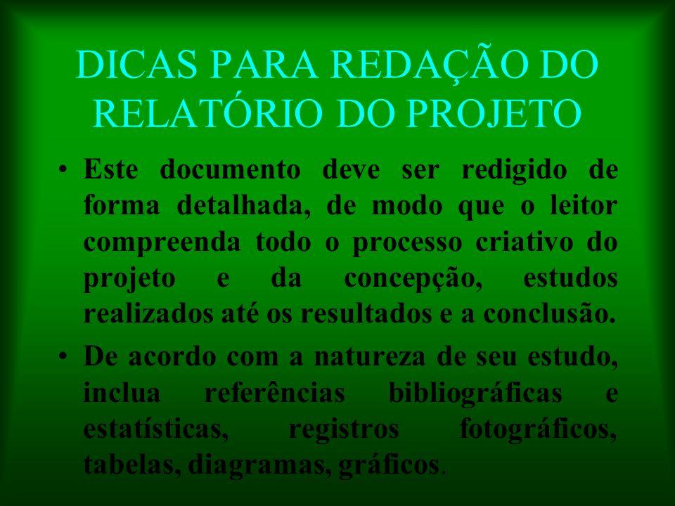 DICAS PARA REDAÇÃO DO RELATÓRIO DO PROJETO