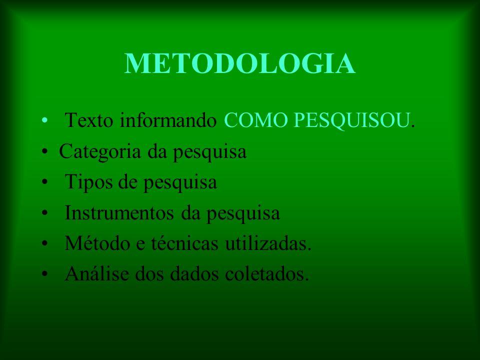 METODOLOGIA Texto informando COMO PESQUISOU. Categoria da pesquisa