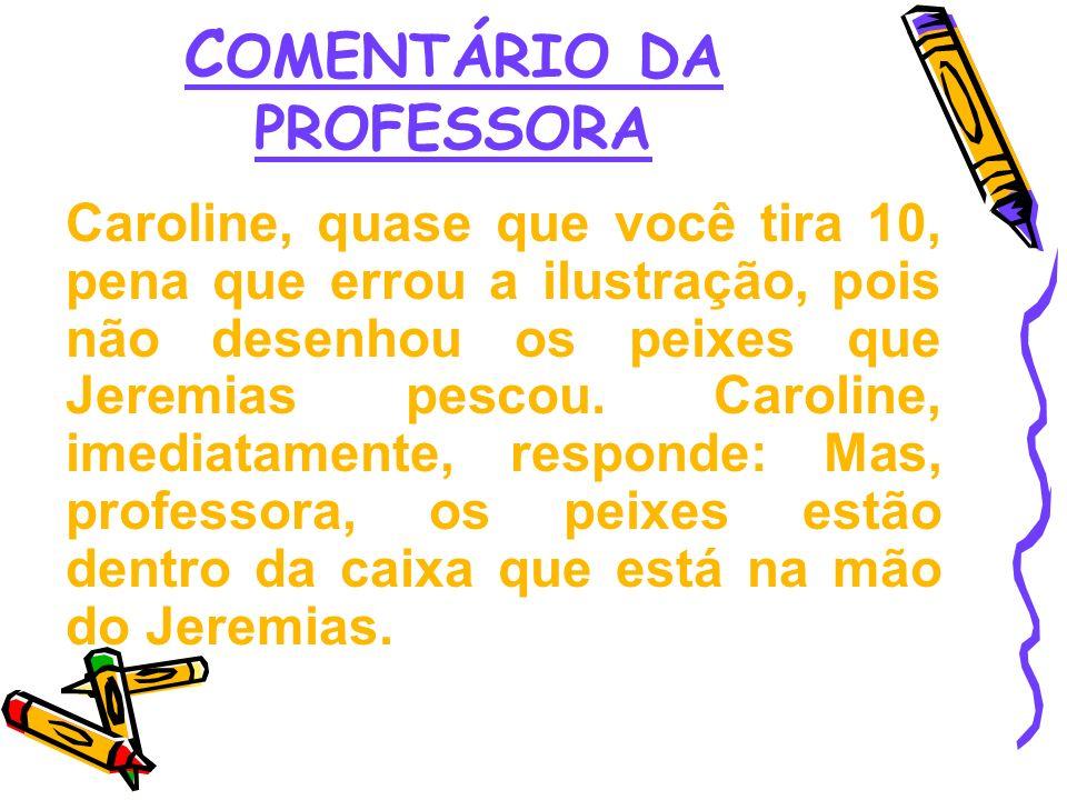 COMENTÁRIO DA PROFESSORA