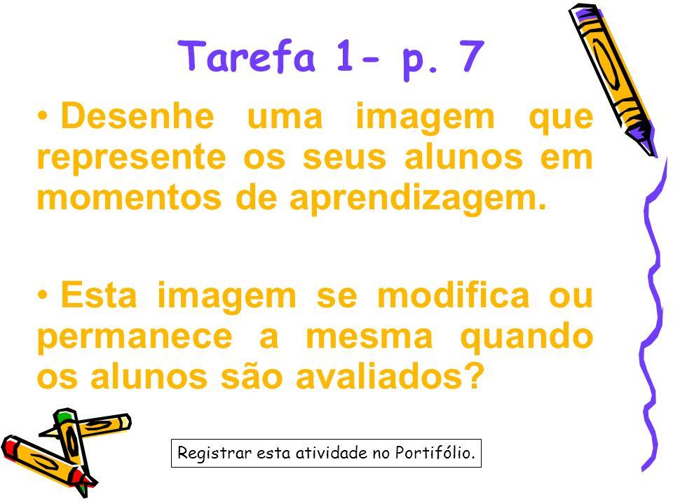 Tarefa 1- p. 7 Desenhe uma imagem que represente os seus alunos em momentos de aprendizagem.