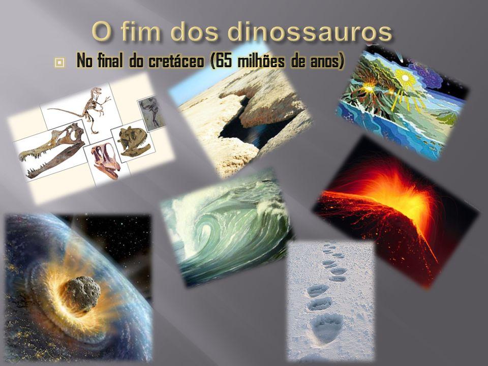 O fim dos dinossauros No final do cretáceo (65 milhões de anos)