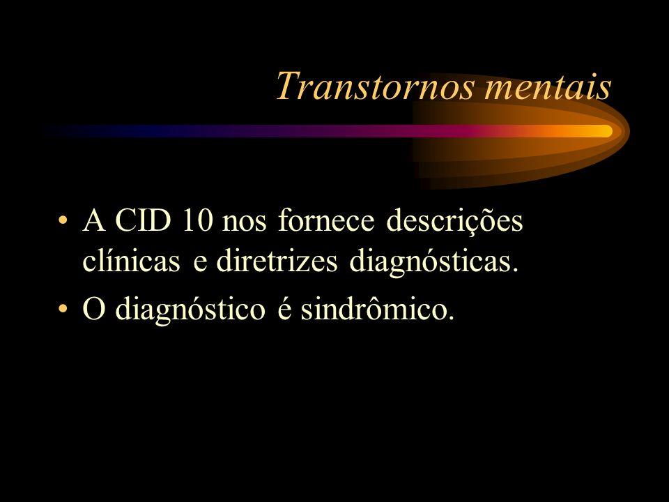 Transtornos mentaisA CID 10 nos fornece descrições clínicas e diretrizes diagnósticas.