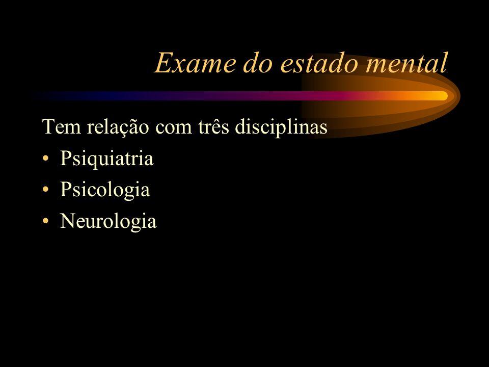 Exame do estado mental Tem relação com três disciplinas Psiquiatria