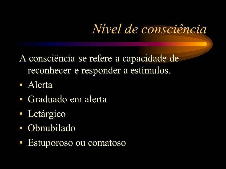 Nível de consciência A consciência se refere a capacidade de reconhecer e responder a estímulos. Alerta.