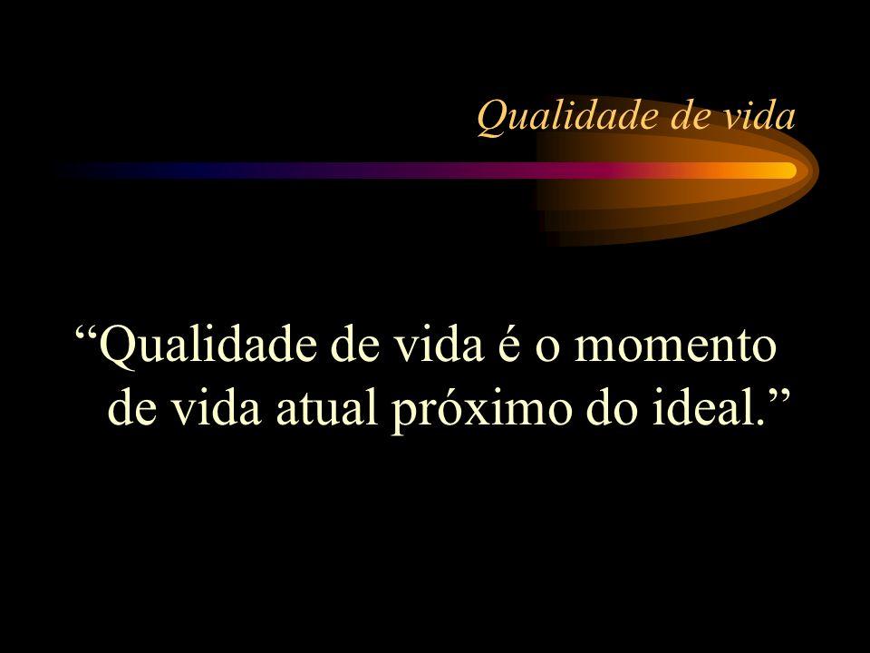 Qualidade de vida é o momento de vida atual próximo do ideal.