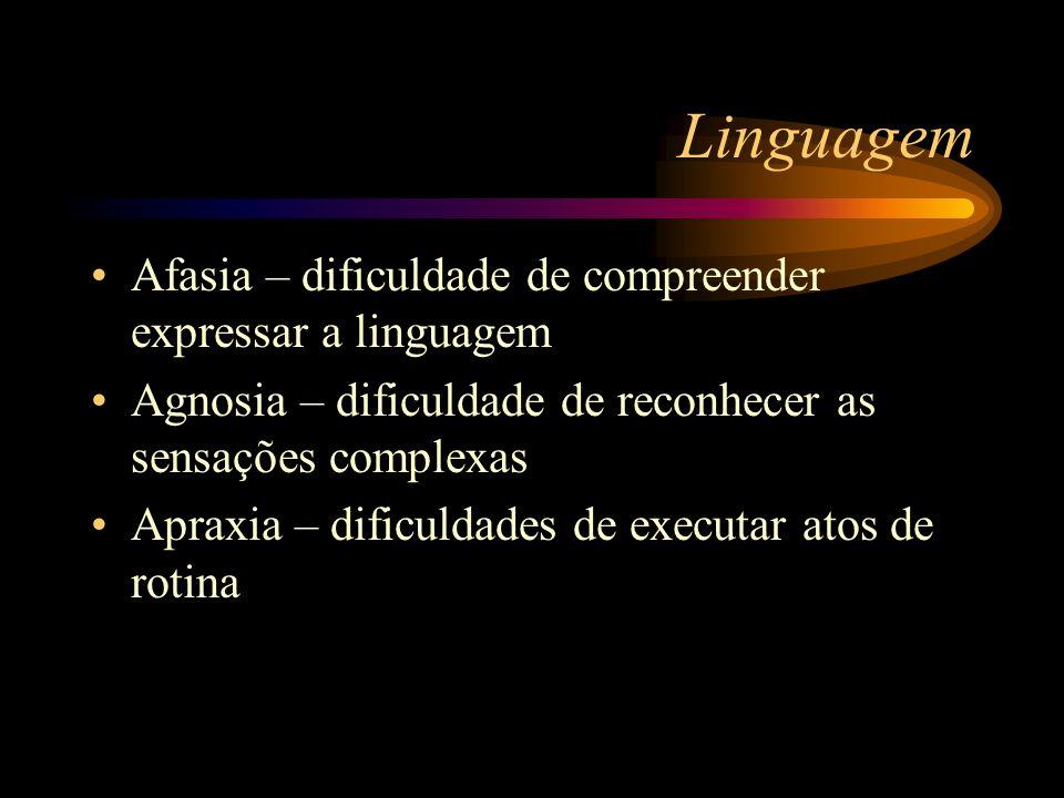 Linguagem Afasia – dificuldade de compreender expressar a linguagem
