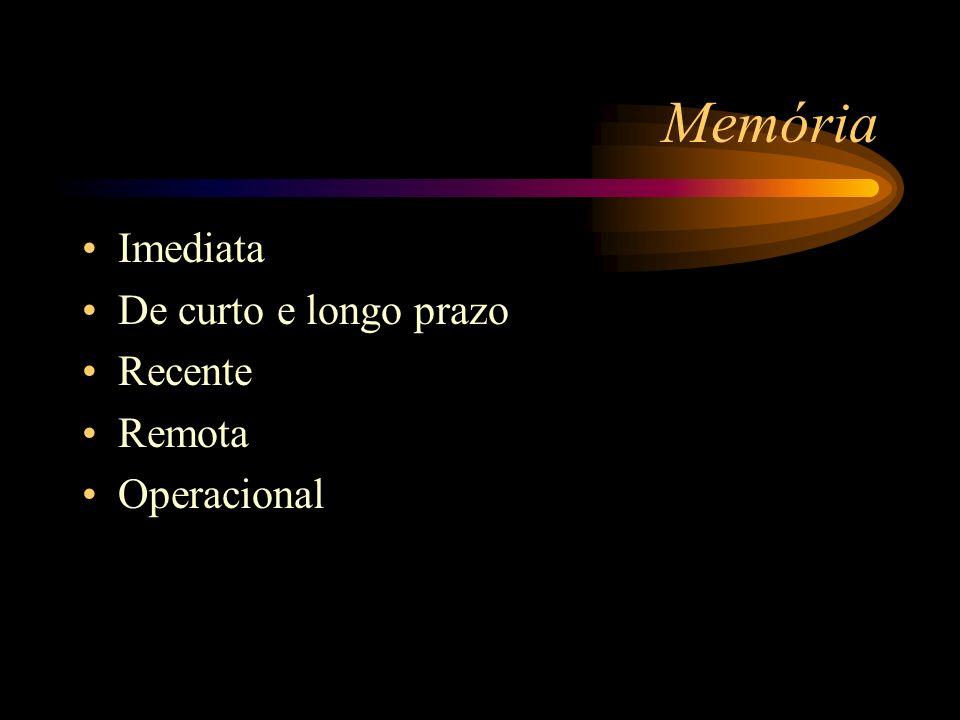 Memória Imediata De curto e longo prazo Recente Remota Operacional