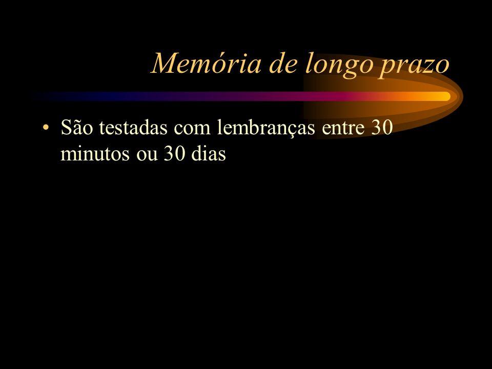 Memória de longo prazo São testadas com lembranças entre 30 minutos ou 30 dias