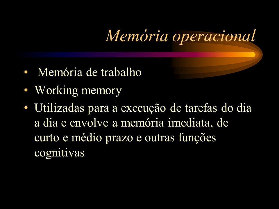 Memória operacional Memória de trabalho Working memory