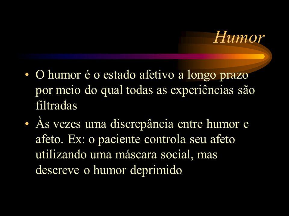 Humor O humor é o estado afetivo a longo prazo por meio do qual todas as experiências são filtradas.