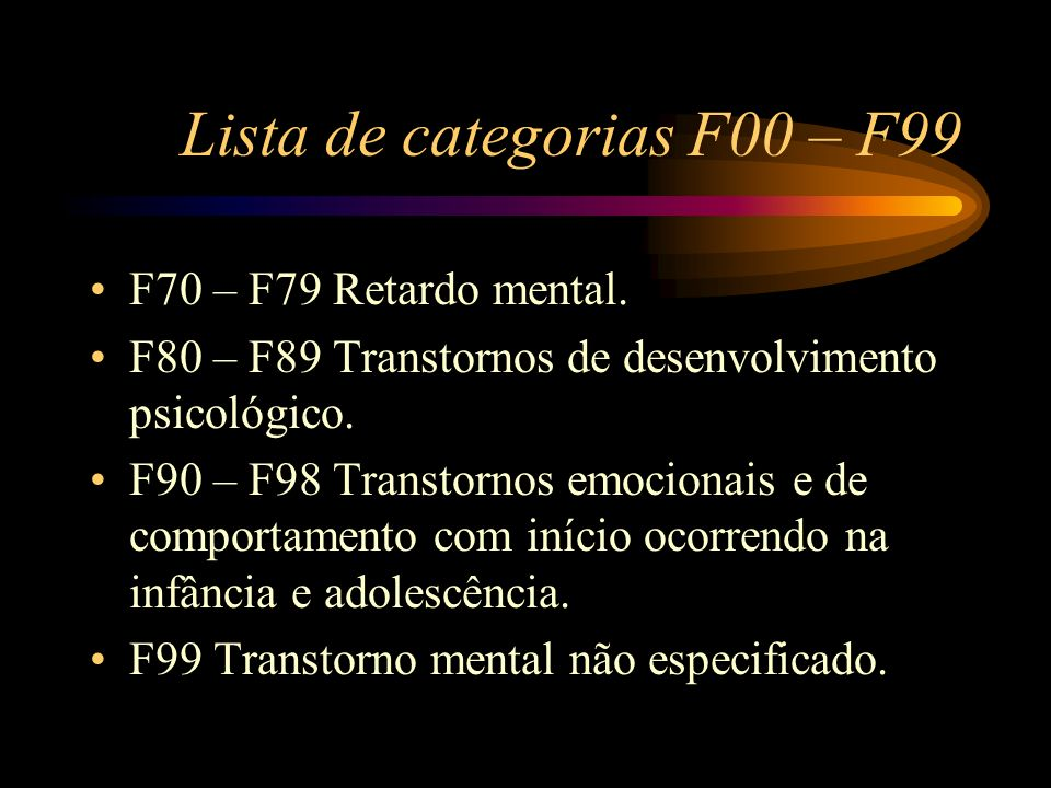 Lista de categorias F00 – F99