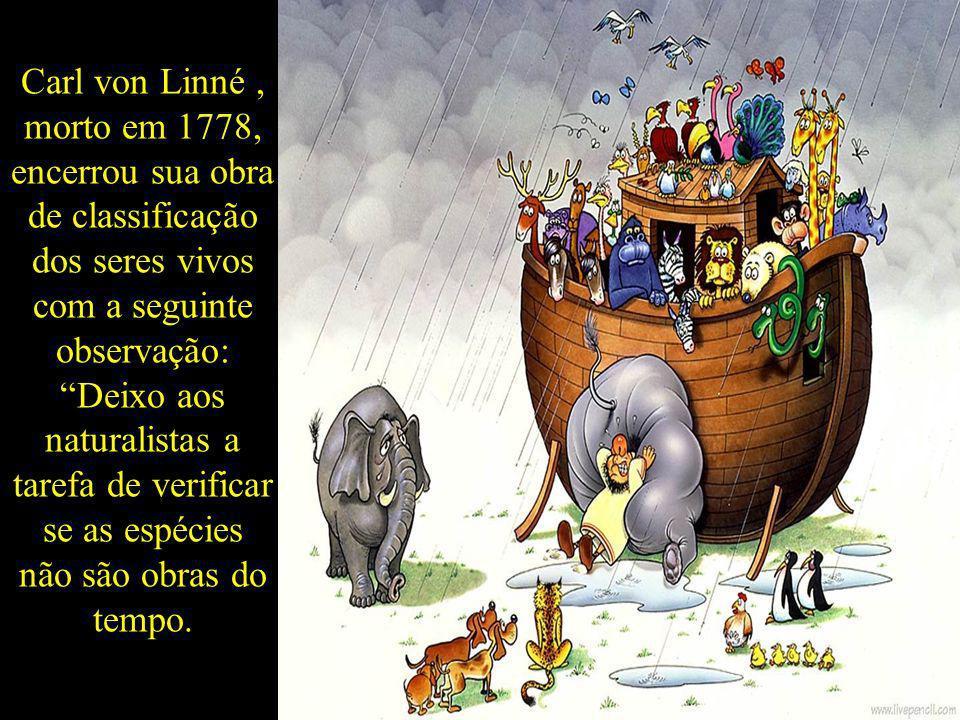 Carl von Linné , morto em 1778, encerrou sua obra de classificação dos seres vivos com a seguinte observação: Deixo aos naturalistas a tarefa de verificar se as espécies não são obras do tempo.