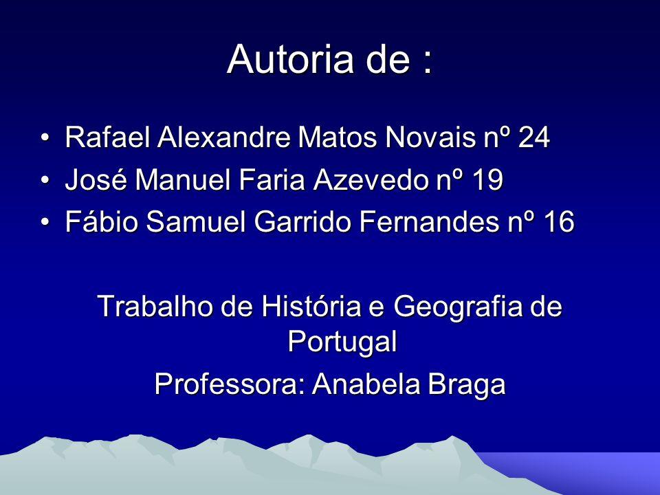 Autoria de : Rafael Alexandre Matos Novais nº 24